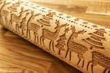 CHRISTMAS DEERS engraved embossed rolling pin BIG christmas reindeers elk engraved embossing rolling pingift kitchen utensil cookie cutter