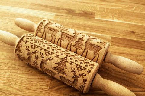 CHRISTMAS DEERS engraved embossed rolling pin MINI christmas reindeers elk engraved embossing kids rolling pin gift kitchen utensil cookie cutter