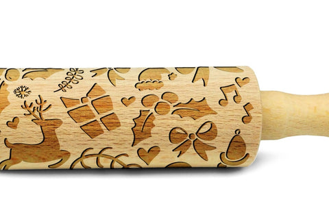CHRISTMAS GIFTS engraved embossed rolling pin MINI christmas gift kitchen utensil cookie cutter kids rolling pin