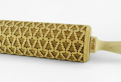 CHRISTMAS TREES Embossing ROLLING PIN, Christmas cookies pattern on a cookies, Christmas ideas, Aniversary gift for wife, Christmas unique gifts, Christmas tree rolling pin Cookies with christmas tree pattern, Wood' Good laser engraved rolling pins