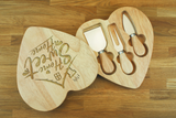 Personalised HOME SWEET HOME Wooden Heart Shaped Cheeseboard Gift Set - Engraved with Knife Set by Wood's Good - Made in UK - Valentine's Day Gift for Cheese Lovers