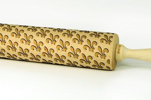 flueur de lis rolling pin, engraved rolling pins with any patterns, wooden birch rolling pin