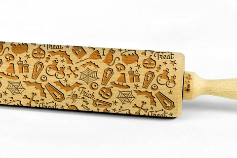 HALLOWEEN PATTERN engraved embossed BIG rolling pin by Wood's Good halloween party bats pumpkins cats pattern
