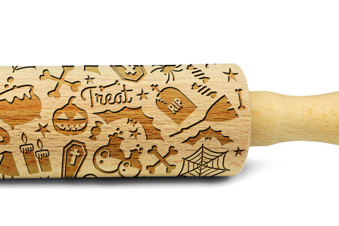 HALLOWEEN PATTERN engraved embossed MINI rolling pin by Wood's Good