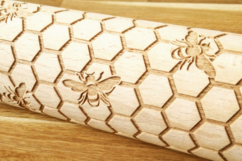 Honeycomb & bees engraved embossed rolling pin BIG