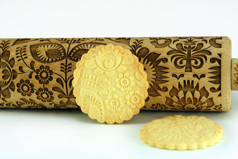 FOLK Engraved ROLLING PIN - Laser engraved FLORAL Rolling pin - FOLK Motif Rolling Pin - Polish folk pattern - Folk rolling pin - Folk cookies - Embossign rolling pin - Flowers pattern - Engraved rolling pin with flowers for embossed cookies or pasta useful in pottery - Folk rolling pin