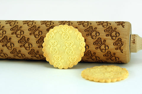 teddy bears rolling pin, kids rolling pin, mini rolling pin with funny teddy bears pattern, cookies for kids, best gift for bakers