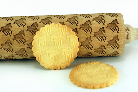 horses rolling pin, cookies with horses pattern, funny cookies, gift for bakers, engraved embossing rolling pin, best beech wood