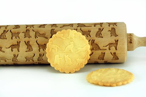 CATS Engraved ROLLING PIN - Cats pattern cookies - Best gift for bakers - Cats engraved rolling pin - Laser rolling pin - Engraved rolling pin - Best houseware - Woodsgood SHOP