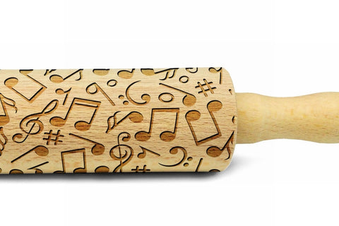 MUSIC NOTES engraved embossed MINI rolling pin sheep pattern engraved rolling pin by Wood's Good kids rolling pin with music notes music lovers musicians