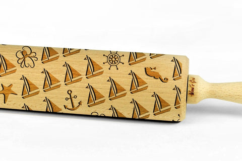 OCEAN engraved embossed BIG rolling pin ocean sea life pattern engraved rolling pin by Wood's Good marine embossing rolling pin