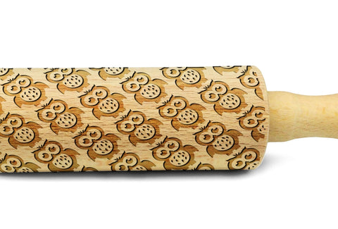 OWLS engraved embossed MINI rolling pin sheep pattern engraved rolling pin by Wood's Good kids rolling pin with owls