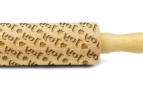 Personalised rolling pin, made by pattern ANY TEXT engraved rolling pin embossing rolling pin for cookies, laser engraved, solid wood, Christmas gift, Mother's Day present, ocean pattern, MADE IN UK