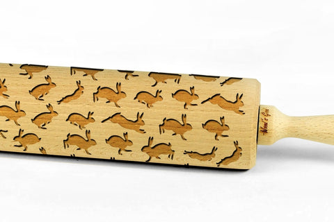 RABBITS engraved embossed BIG rolling pin bunny pattern engraved embossing rolling pin by Wood's Good