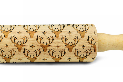 REINDEERS engraved embossed embossing rolling pin MINI christmas PATTERN christmas gift kitchen utensil cookie cutter mini rolling pin for kids christmas gifts for kids