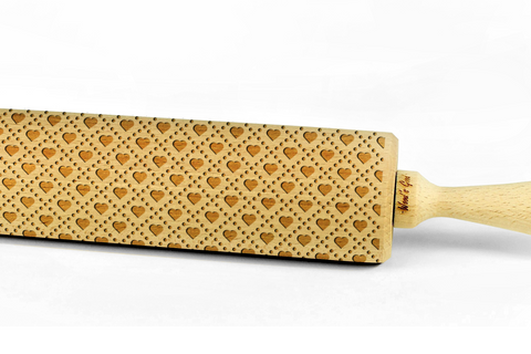 HEART PATTERN engraved embossed BIG rolling pin by Wood's Good hearts embossing rolling pin valentines day