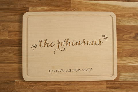 Personalized Engraved Chopping Cutting Board for Wedding Anniversary Gift