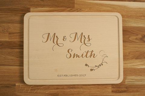 Personalized Mr & Mrs Engraved Chopping Cutting Board Wedding Anniversary Gift