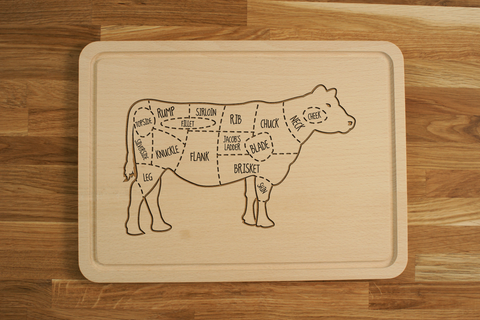 Personalized Wooden Engraved Chopping Cutting Board Beef Butcher Cow Diagram