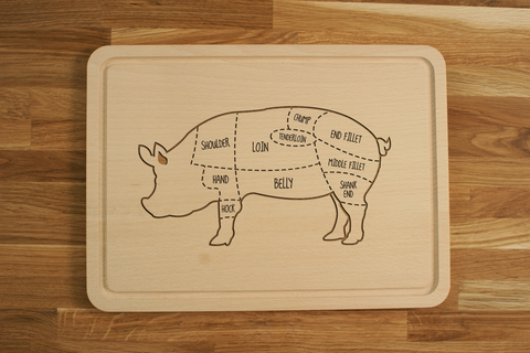 Personalized Engraved Wooden Chopping Cutting Board Pork Cuts Pig Butcher
