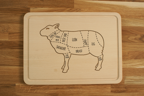 Personalized Engraved Wooden Chopping Cutting Board Lamb Butcher Sheep Diagram