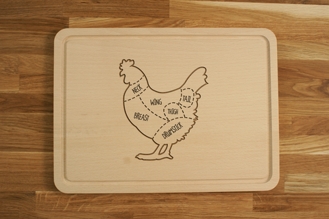Personalized Engraved Wooden Chopping Cutting Board Chicken Cuts Butcher Diagram