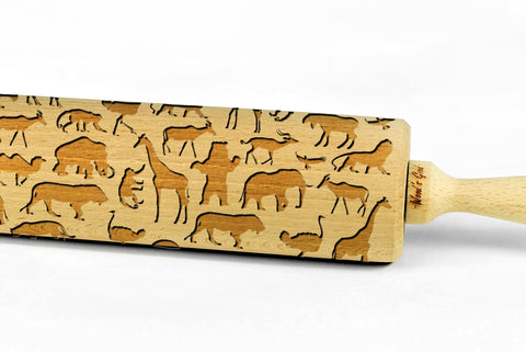 SAFARI ANIMALS engraved embossed BIG rolling pin africa savannah pattern engraved rolling pin by Wood's Good