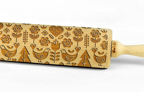 SCANDINAVIAN FOLK engraved embossed rolling pin BIG folklor pattern folk pattern christmas gift kitchen utensil cookie cutter