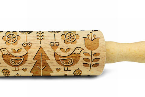 SCANDINAVIAN FOLK engraved embossed MINI rolling pin BIG folklor pattern folk pattern kids rolling pin christmas gift kitchen utensil cookie cutter