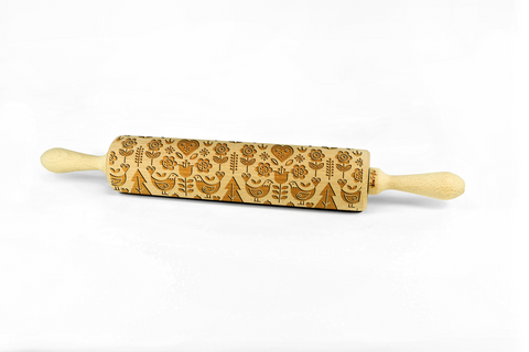 SCANDINAVIAN FOLK – Embossing wooden rolling pin