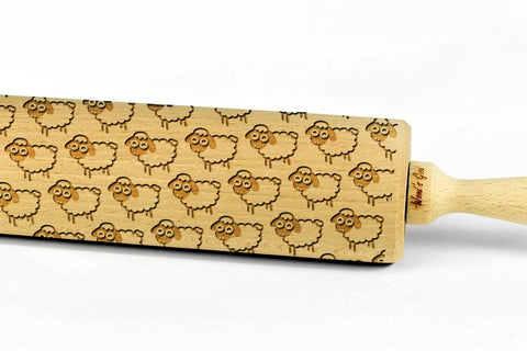 SHEEPS engraved embossed BIG rolling pin sheep pattern engraved rolling pin by Wood's Good