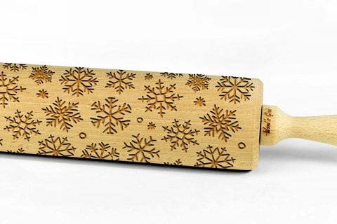CHRISTMAS SNOWFLAKES engraved embossed rolling pin BIG christmas gift kitchen utensil cookie cutter
