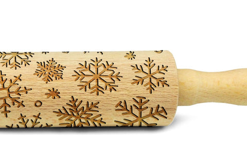CHRISTMAS SNOWFLAKES engraved embossed rolling pin MINI christmas gift kitchen utensil cookie cutter kids rolling pin
