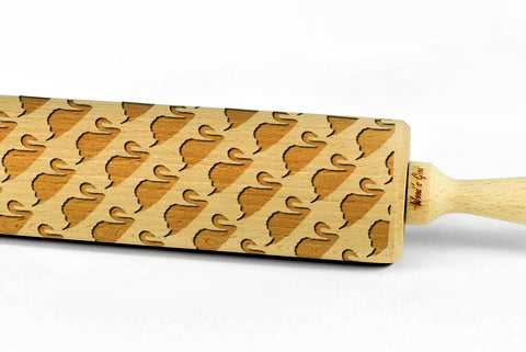 SWANS engraved embossed BIG rolling pin swans bird pattern engraved rolling pin by Wood's Good cookie cutter pastries