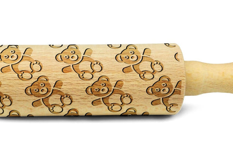 TEDDY BEARS engraved embossed MINI rolling pin sheep pattern engraved rolling pin by Wood's Good haribo bears embossing kids rolling pin