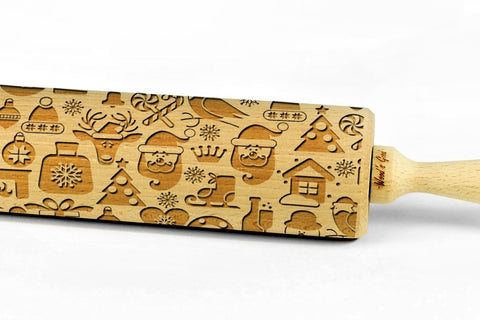 XMAS CHRISTMAS PATTERN engraved embossing wooden BIG rolling pin christmas pattern embossing rolling pin christmas gift for baking lovers