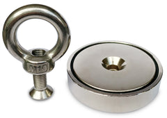 "350 LBS Pulling Force, Brute Magnetics Round Neodymium Magnet with Countersunk Hole and Eyebolt, 2.95"" Diameter"