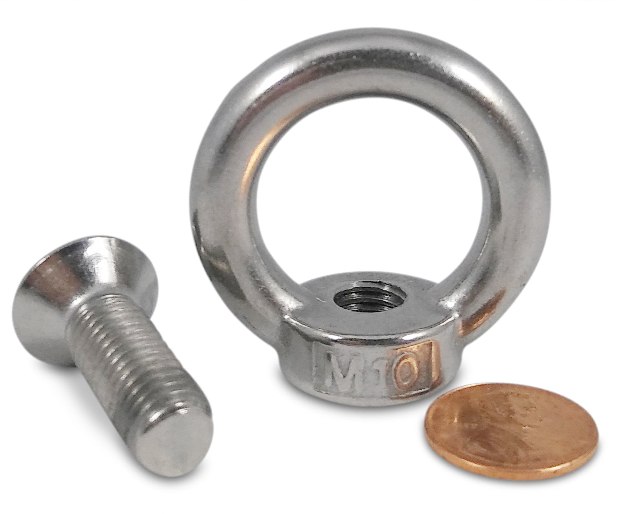 M8 Stainless Steel Eyebolt with Screw 304 SS Threaded Ring Brute Magnetics