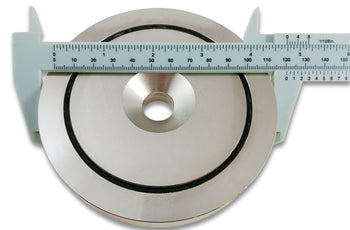 "Load image into Gallery viewer, 1,200 LB Pull Round Neodymium Magnet with Countersunk Hole and Eyebolt, 4.72"" Diameter"