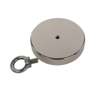"2,000 LB Pull Round Neodymium Magnet with Threaded Hole and Eyelet, 5.31"" Diameter"