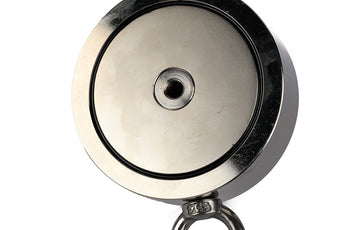"Load image into Gallery viewer, 2,600 LBS (combined) pulling force Double Sided Round Neodymium Magnet with Eyebolt, 4.57"" Diameter"