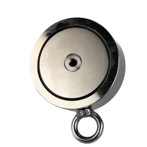 "2,600 LBS (combined) pulling force Double Sided Round Neodymium Magnet with Eyebolt, 4.57"" Diameter"