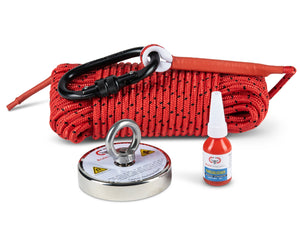"880 LBS Pulling Force Round Neodymium Magnet Fishing Bundle - includes 65 ft 1/4""rope and threadlocker"