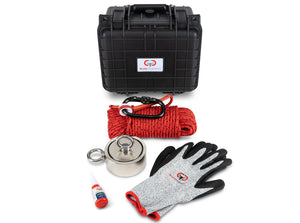 "Brute Box Double Sided 1,200 lb Magnet Fishing Bundle (3.70"" Magnet + Rope + Gloves + Carabiner + Threadlocker)"