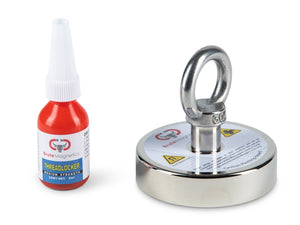 "600 LBS Pulling Force, Brute Magnetics Round Neodymium Magnet with Eyebolt, 2.95"" Diameter - Magnet Fishing"