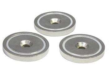 "Load image into Gallery viewer, Round Neodymium Magnet with Countersunk Hole, 80 LBS Pulling Force, 1.65"" Diameter (3-Pack)"