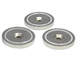 "Round Neodymium Magnet with Countersunk Hole, 80 LBS Pulling Force, 1.65"" Diameter (3-Pack)"