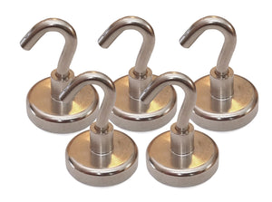 "40 Pound Neodymium Magnetic Hooks, 1.25"" Diameter, 1.75"" Tall (Pack of 5)"