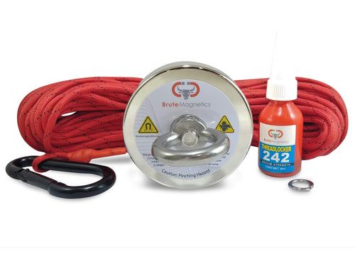 575 LBS Pulling Force Round Neodymium Magnet Fishing Bundle - includes 100 ft 550 paracord and threadlocker