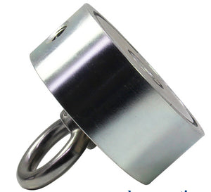 "800 LBS (combined) pulling force Double Sided Round Neodymium Magnet with Eyebolt, 2.95"" Diameter"